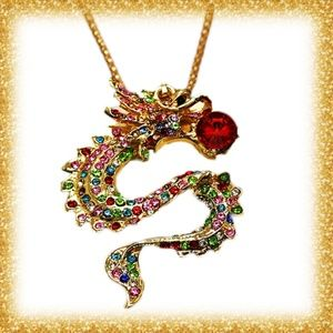 Betsey Johnson Multicolor Dragon Necklace/Brooch